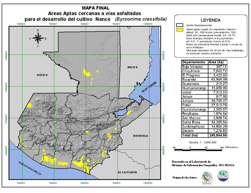 Áreas aptas para el cultivo de nance en Guatemala