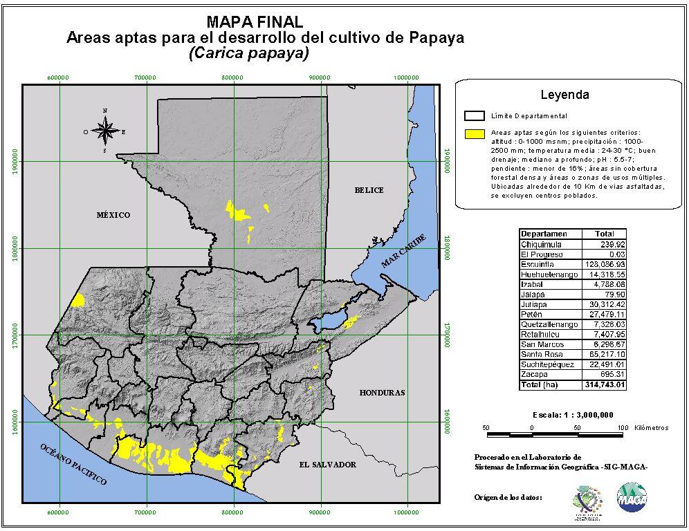 Áreas aptas para el cultivo de la Papaya en Guatemala