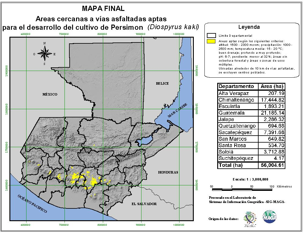 Areas suitable for growing Persimmon in Guatemala