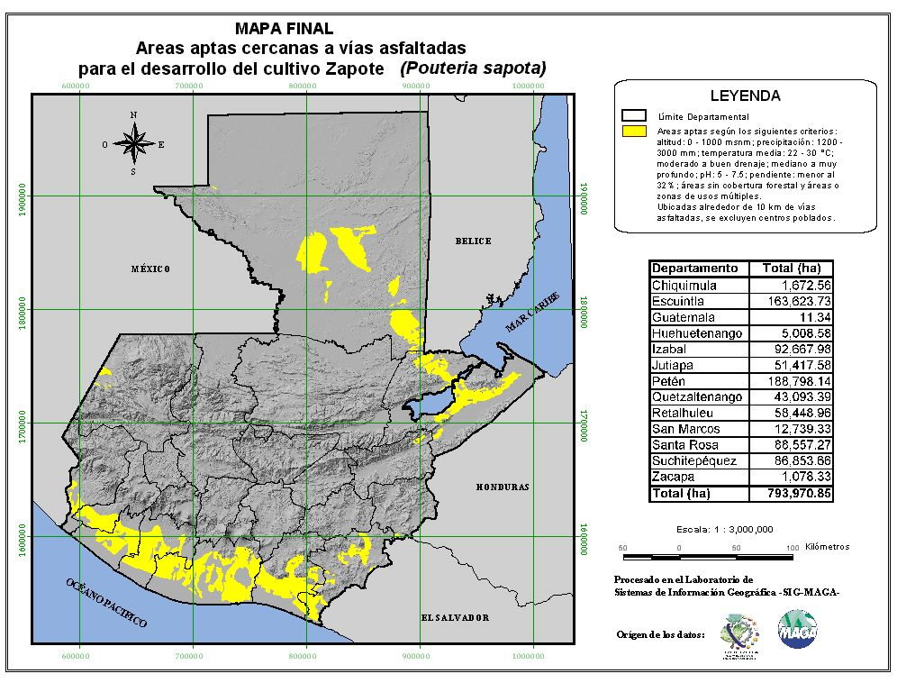 Areas suitable for growing Sapote in Guatemala