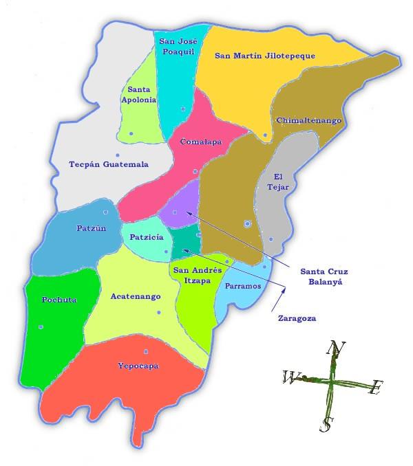 Mapa político de Chimaltenango
