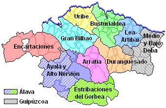Comarcas de Vizcaya prescindiendo de los límites provinciales 2005