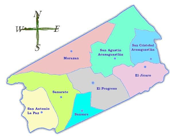 Mapa político de El Progreso