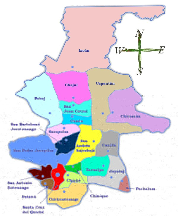 Mapa político de Quiché