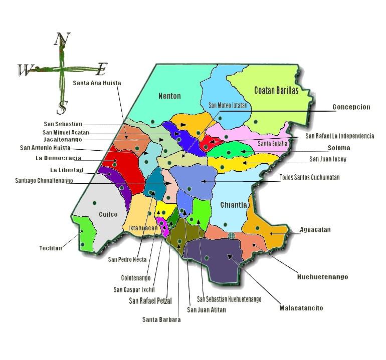 Political map of Huehuetenango