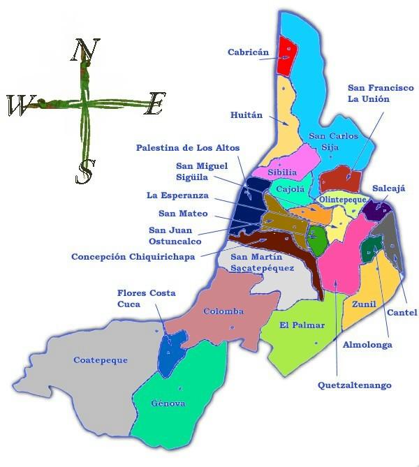 Mapa político de Quetzaltenango