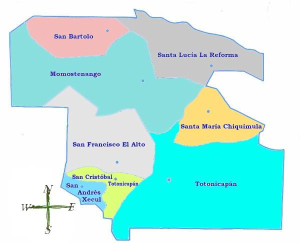 Mapa político de Totonicapán