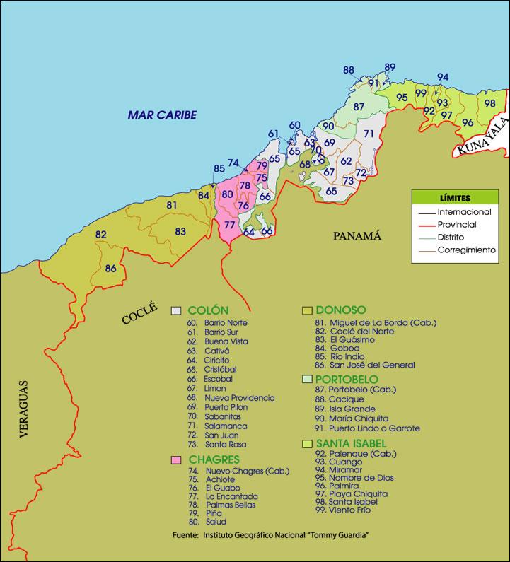 Mapa político de Colón