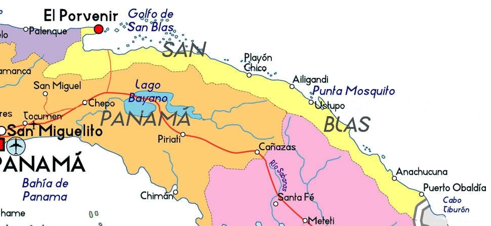 Mapa de Kuna Yala