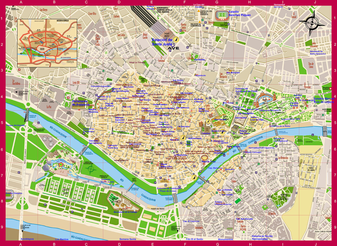 Sevilla map, Spain