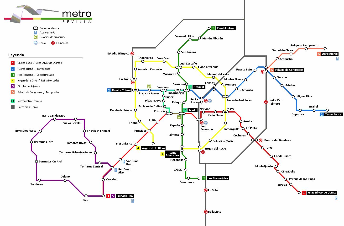 Mapa del futuro Metro de Sevilla
