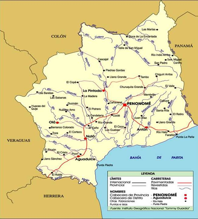 Mapa de carreteras de Coclé