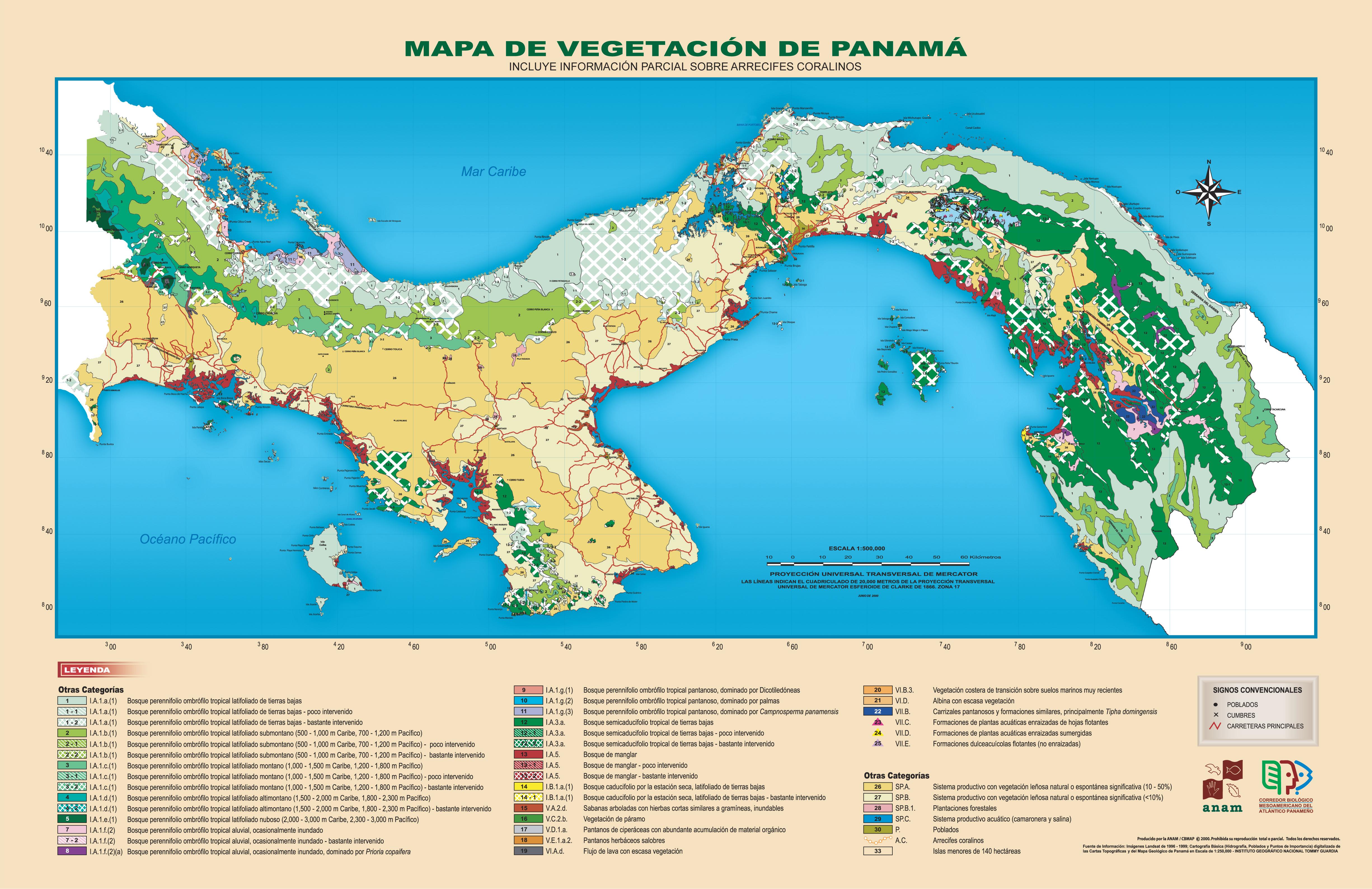 Mapa de vegetación de Panamá 2000