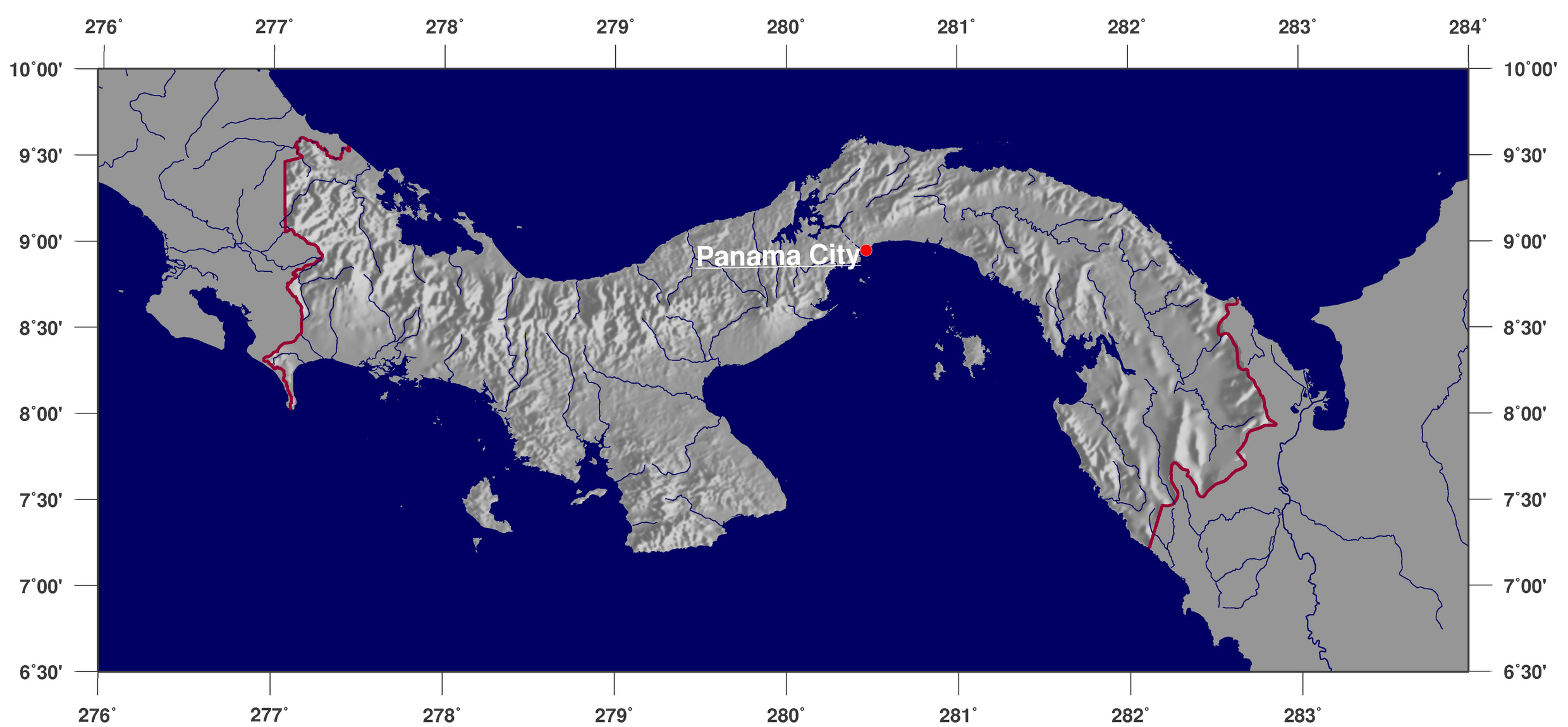 Shaded relief map of Panama