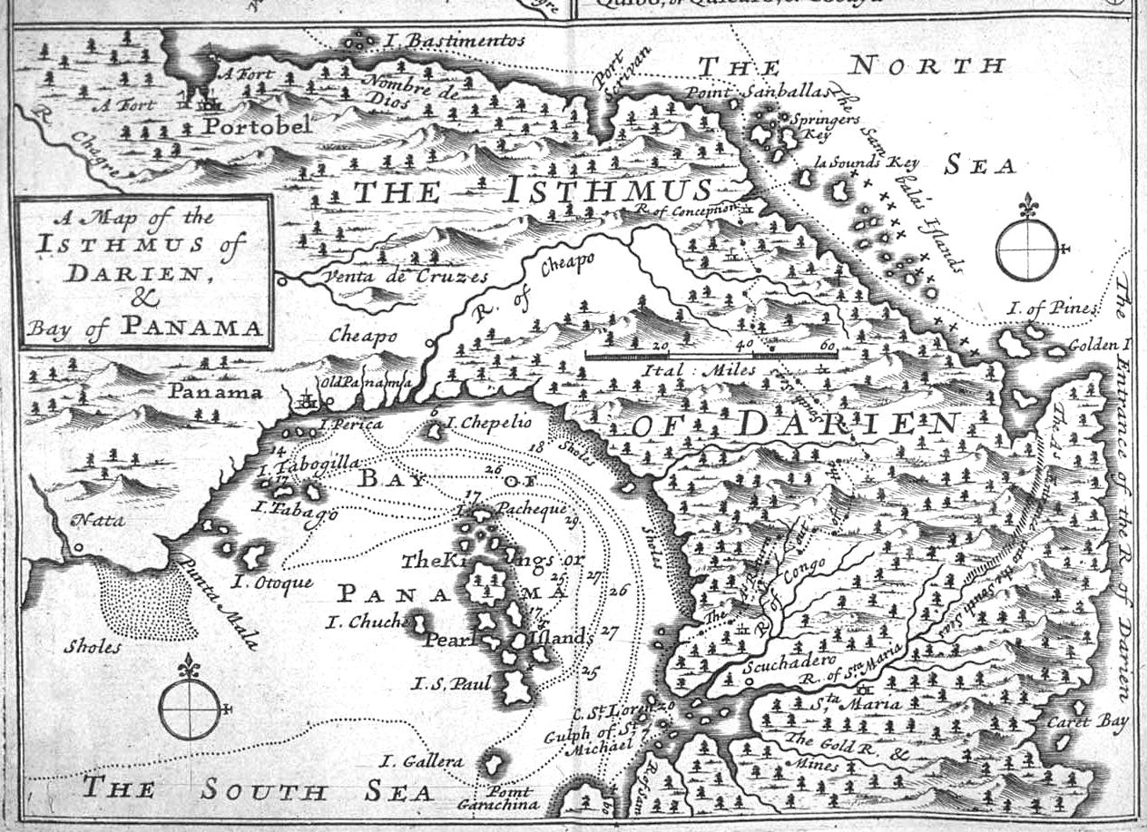 Mapa del istmo de Darién y de la bahía de Panamá