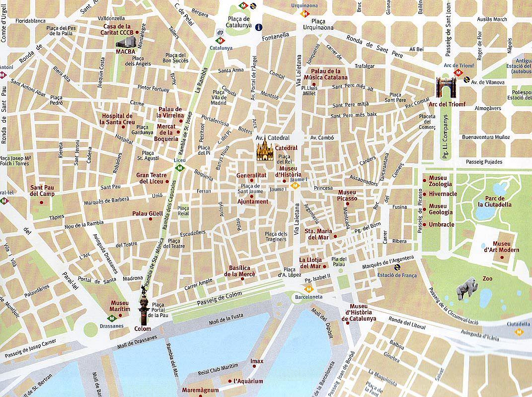 Mapa turístico de Barcelona