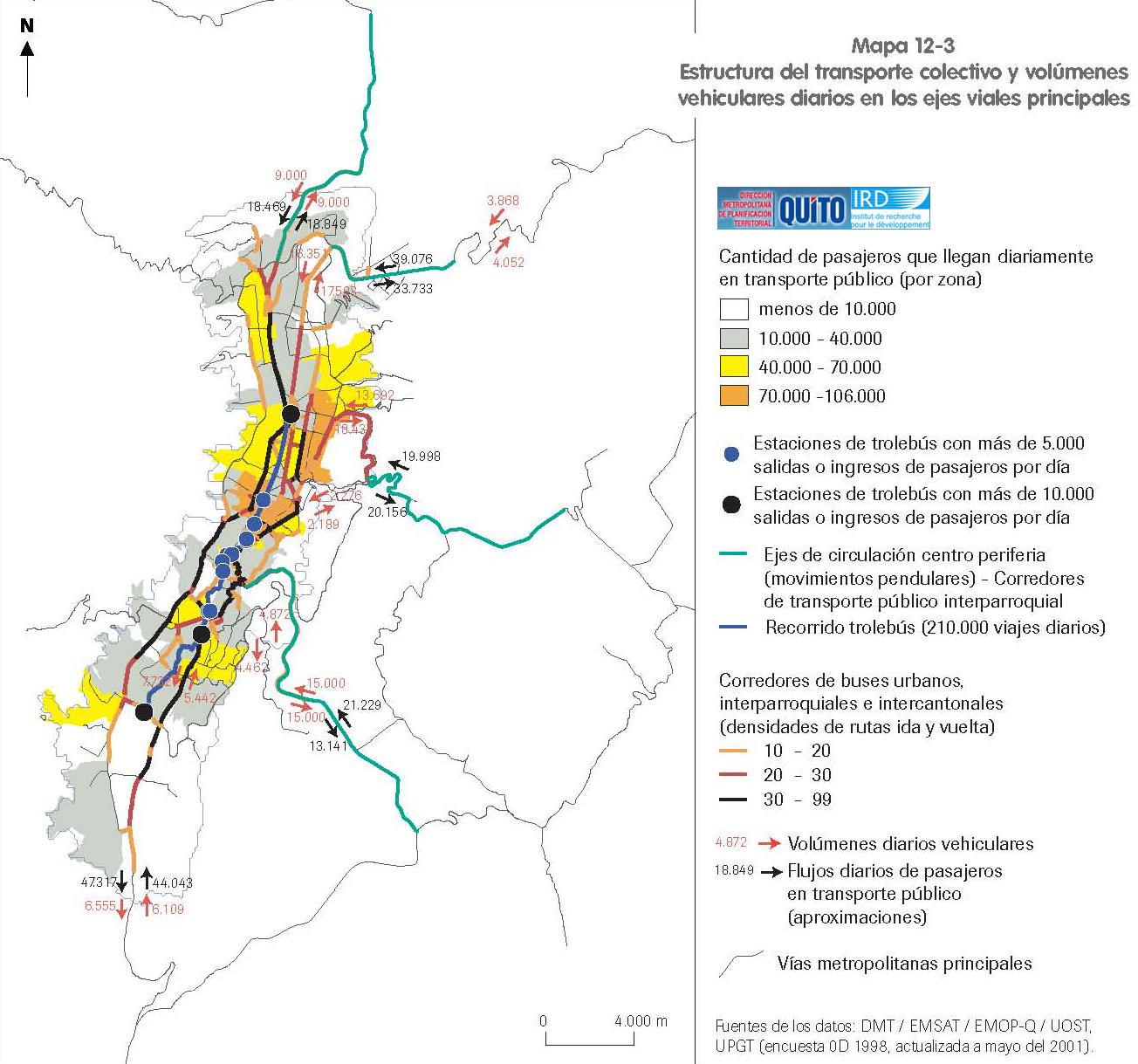 Estructura del transporte colectivo y volúmenes vehiculares diarios en Quito 2001