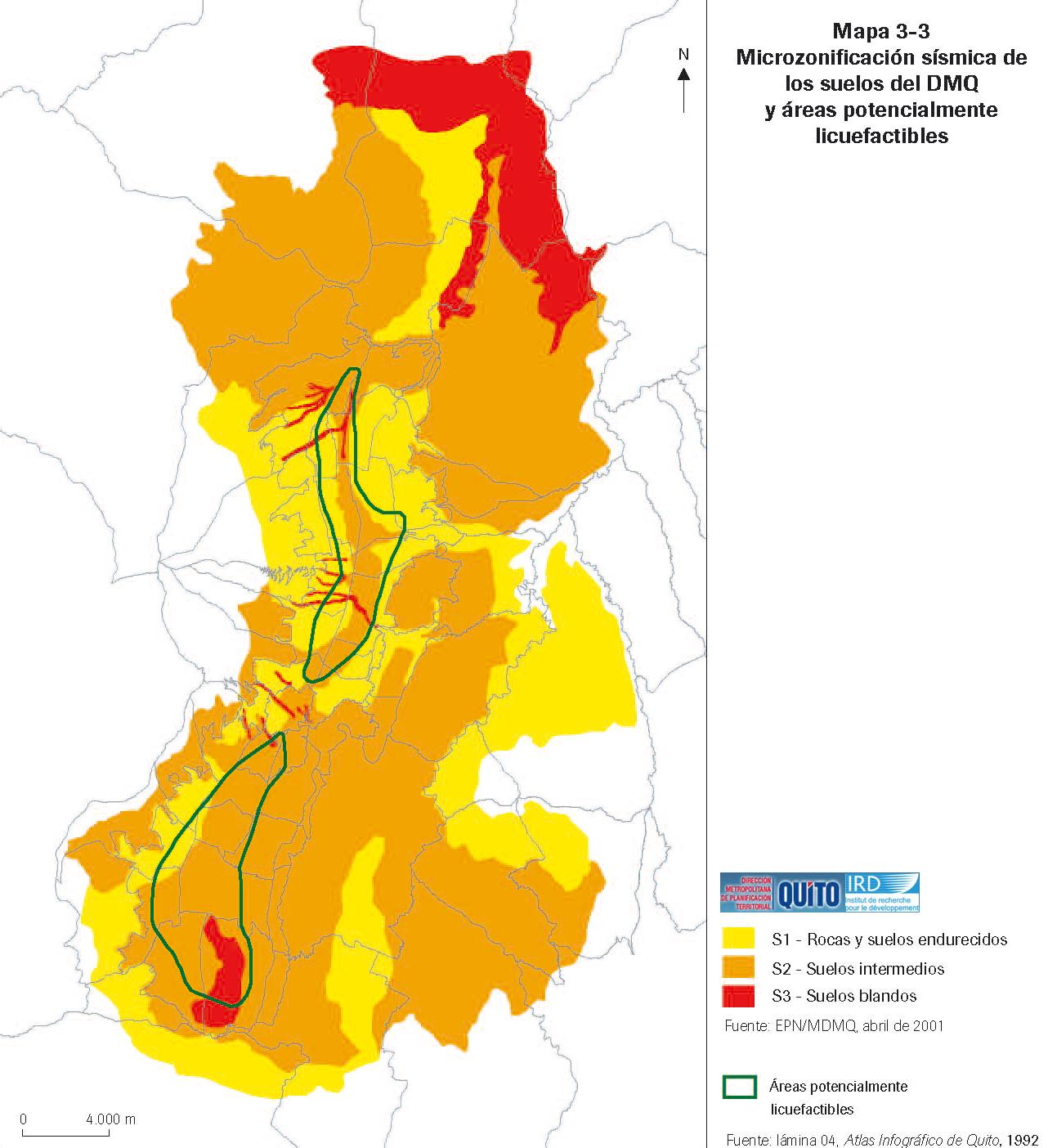 Seismic microzonation map of the Quito Metropolitan District 1988