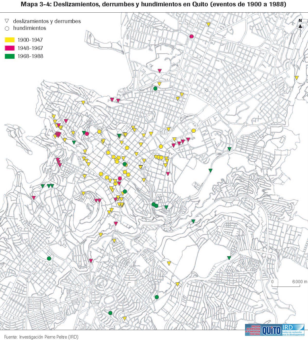Deslizamientos, derrumbes y hundimientos en Quito de 1900 a 1988