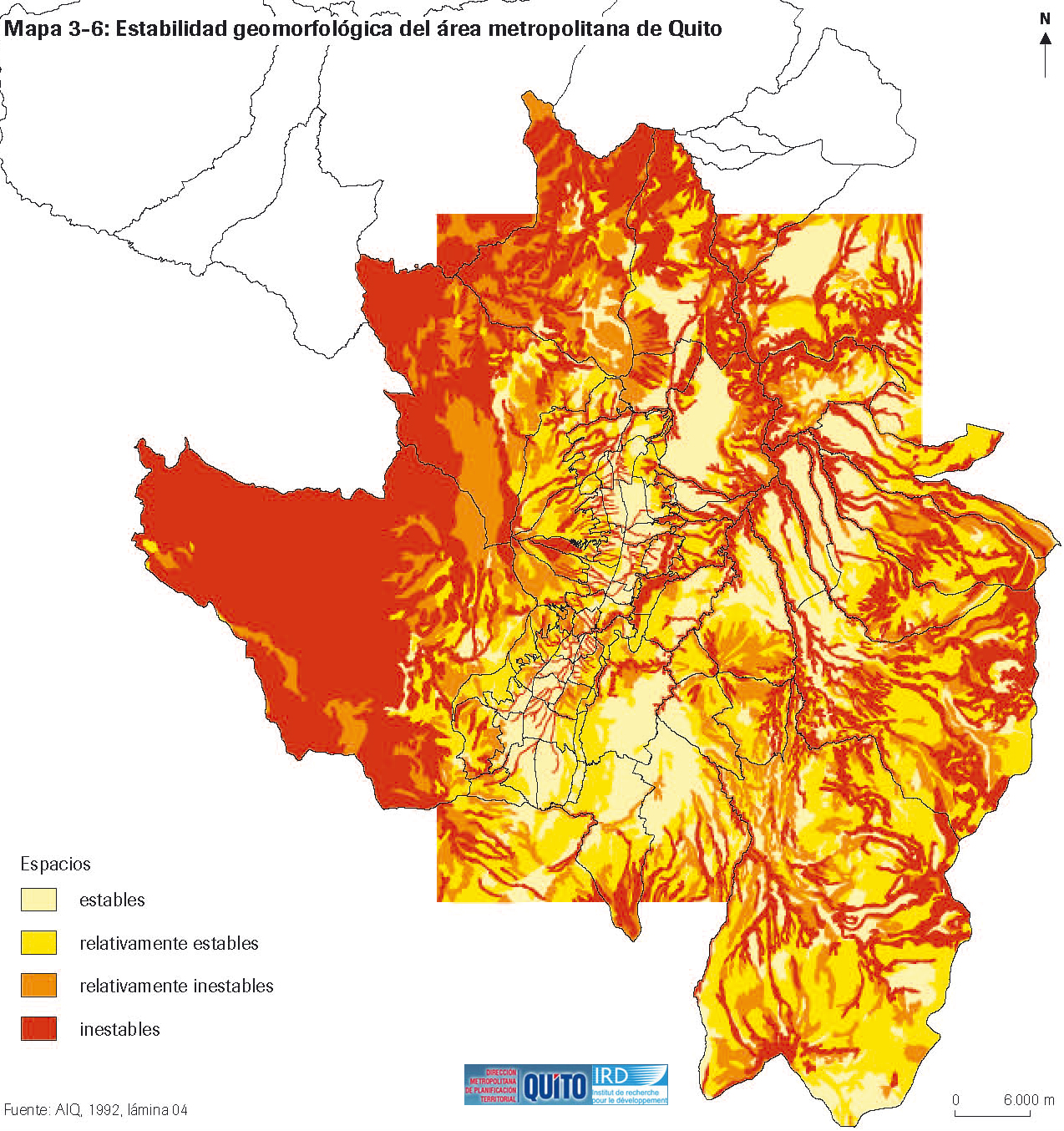 Geomorphological stability of the metropolitan area of Quito 1990