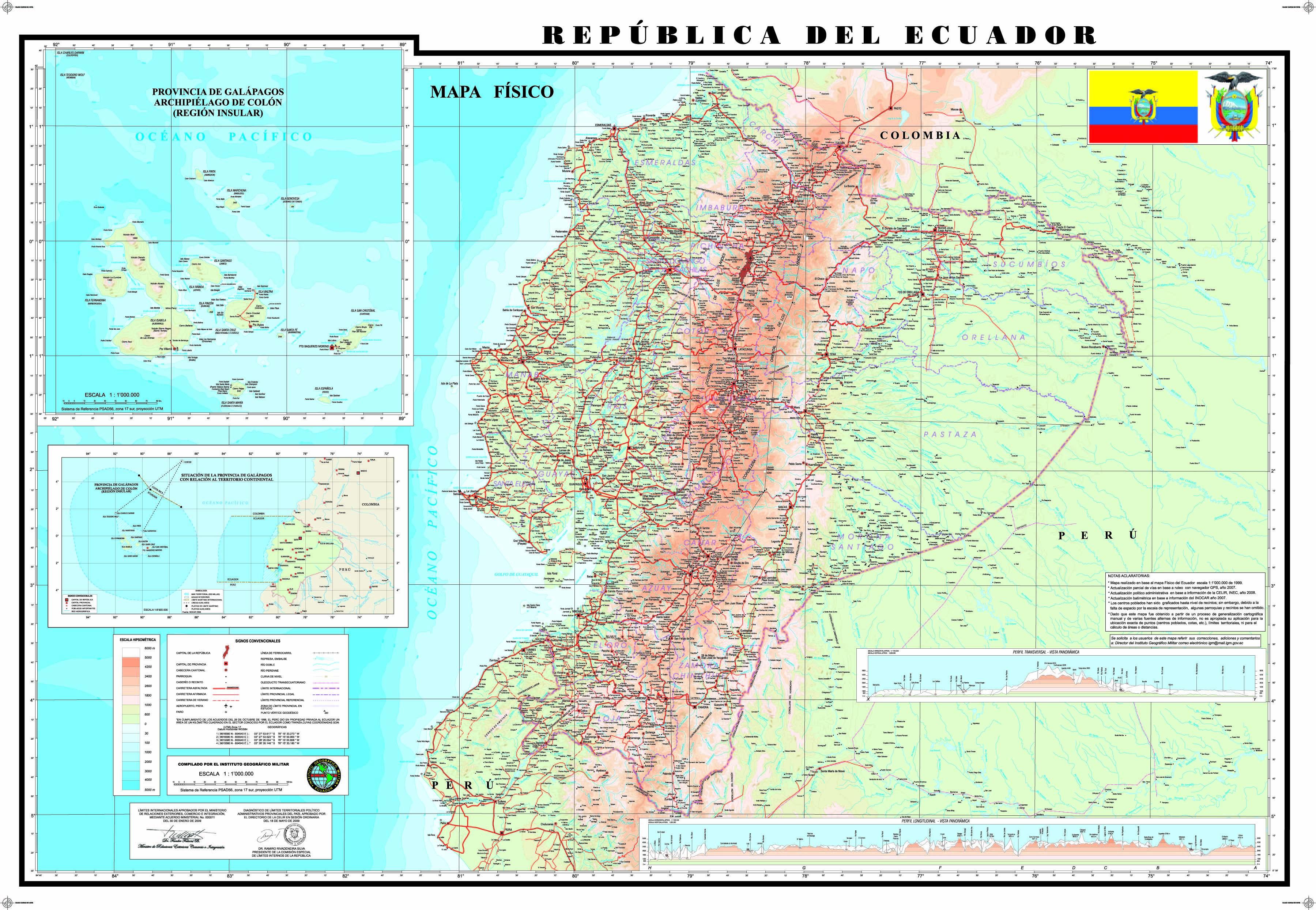 Mapa Físico del Ecuador 2009