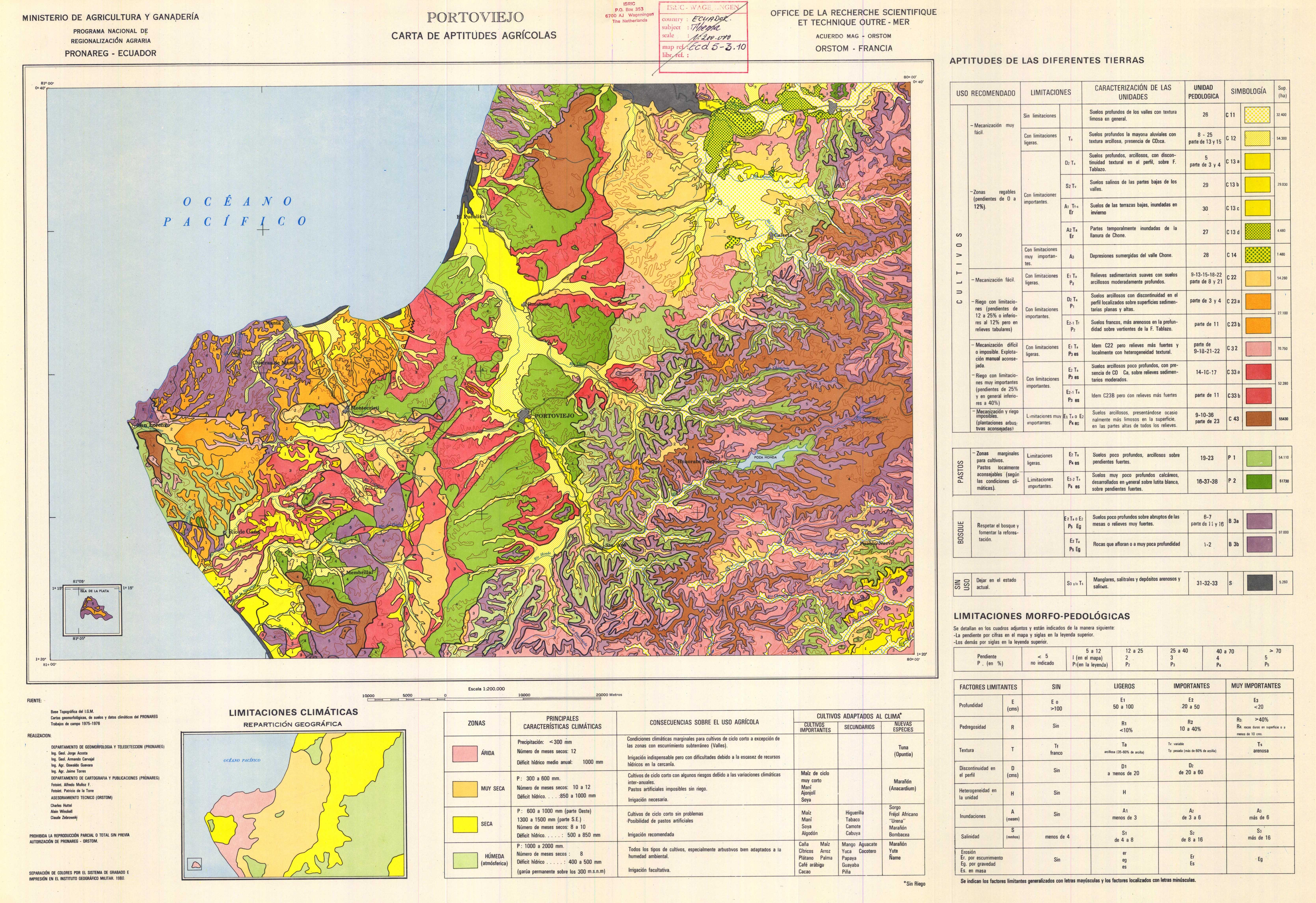 Aptitudes agrícolas de la región de Portoviejo 1980