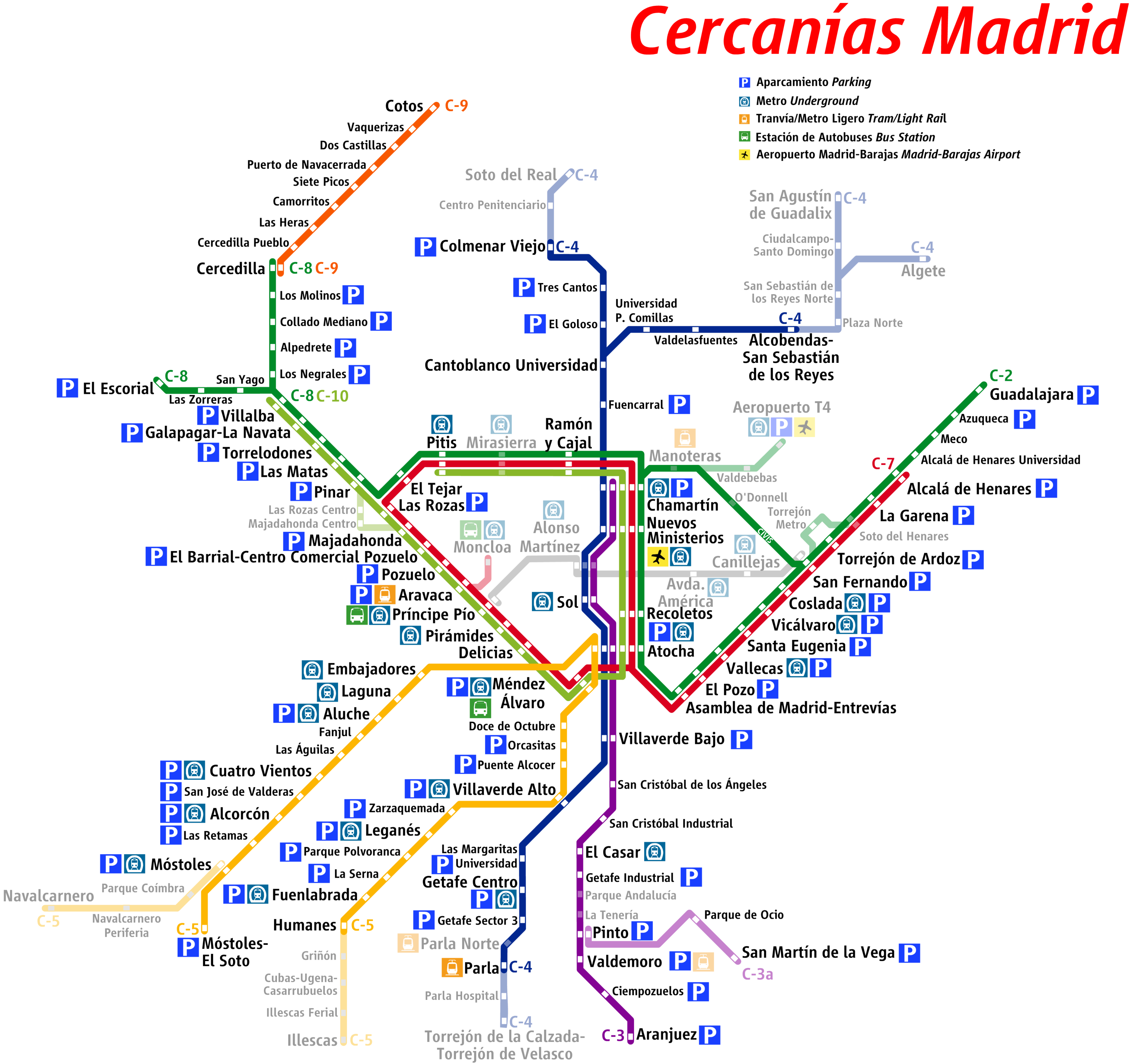 Madrid suburban rail network 2009