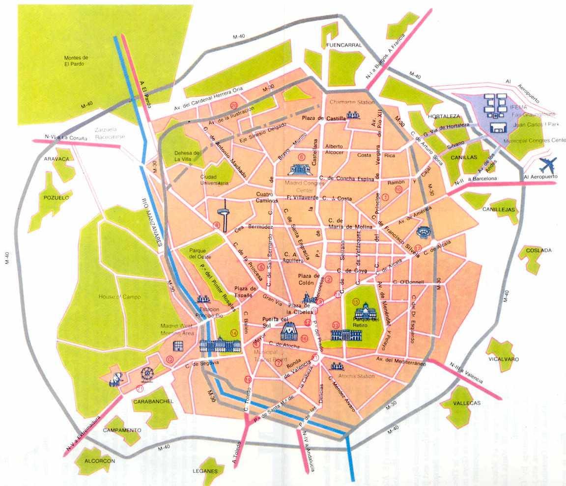 Plano turístico de Madrid