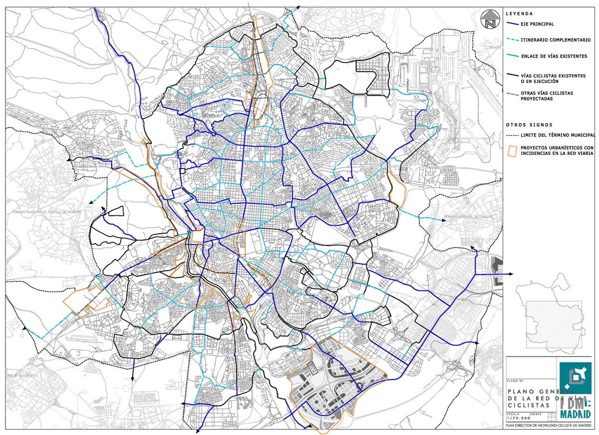 Red de vías ciclistas de Madrid