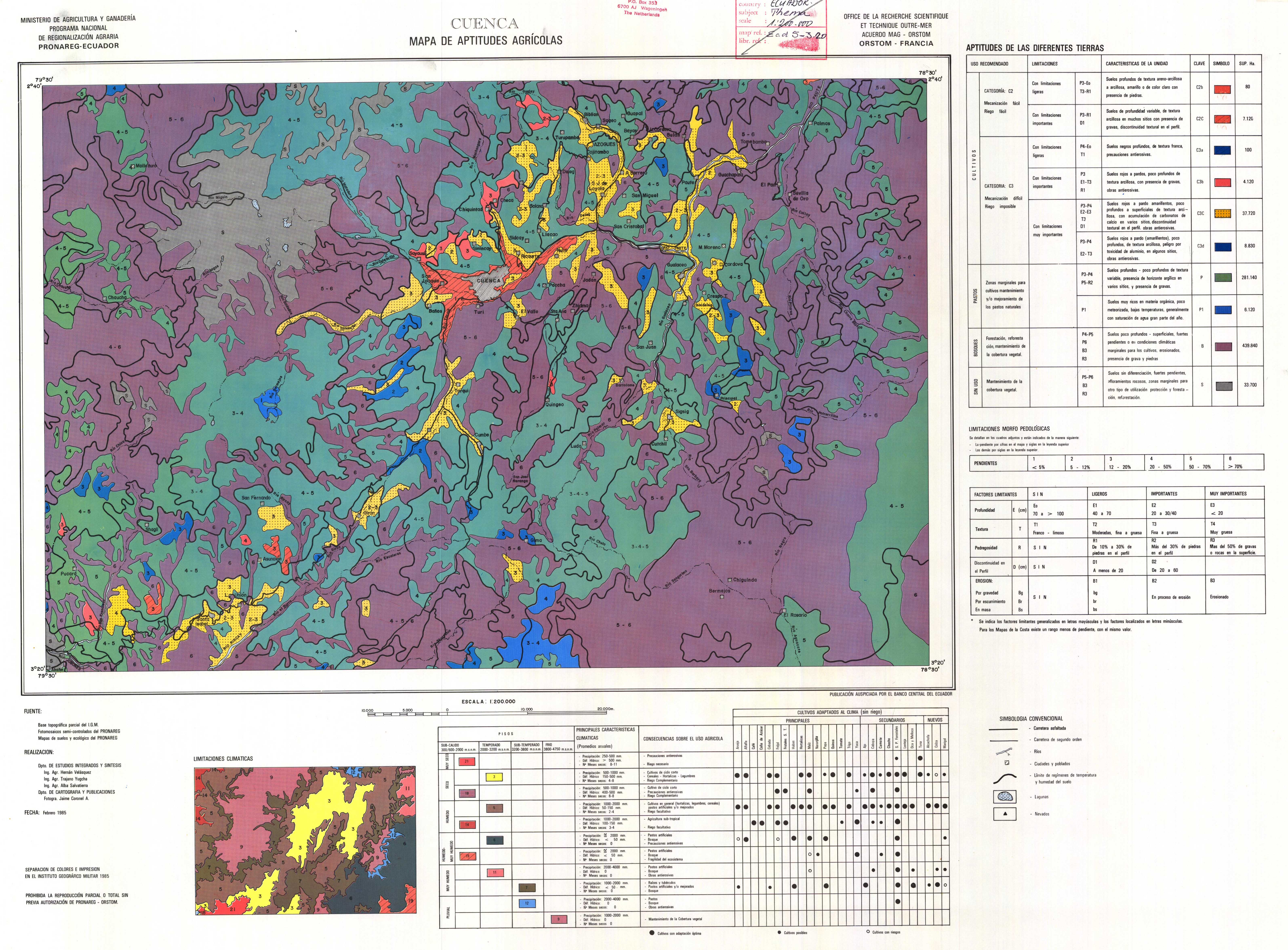 Aptitudes agrícolas de la región de Cuenca 1985