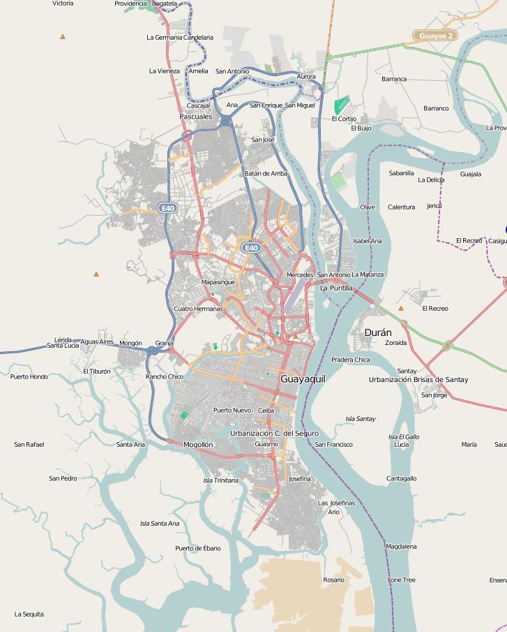 Mapa vial de Guayaquil 2010