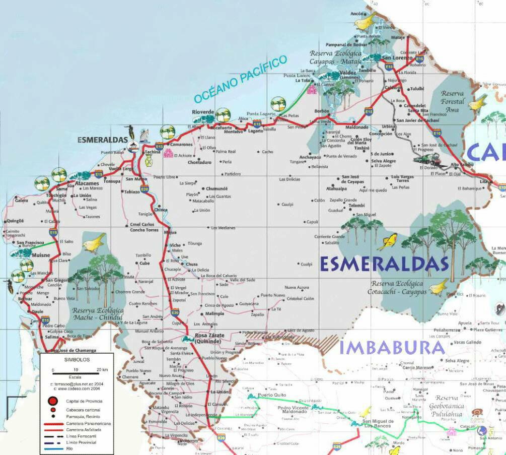 Mapa de carreteras de Esmeraldas