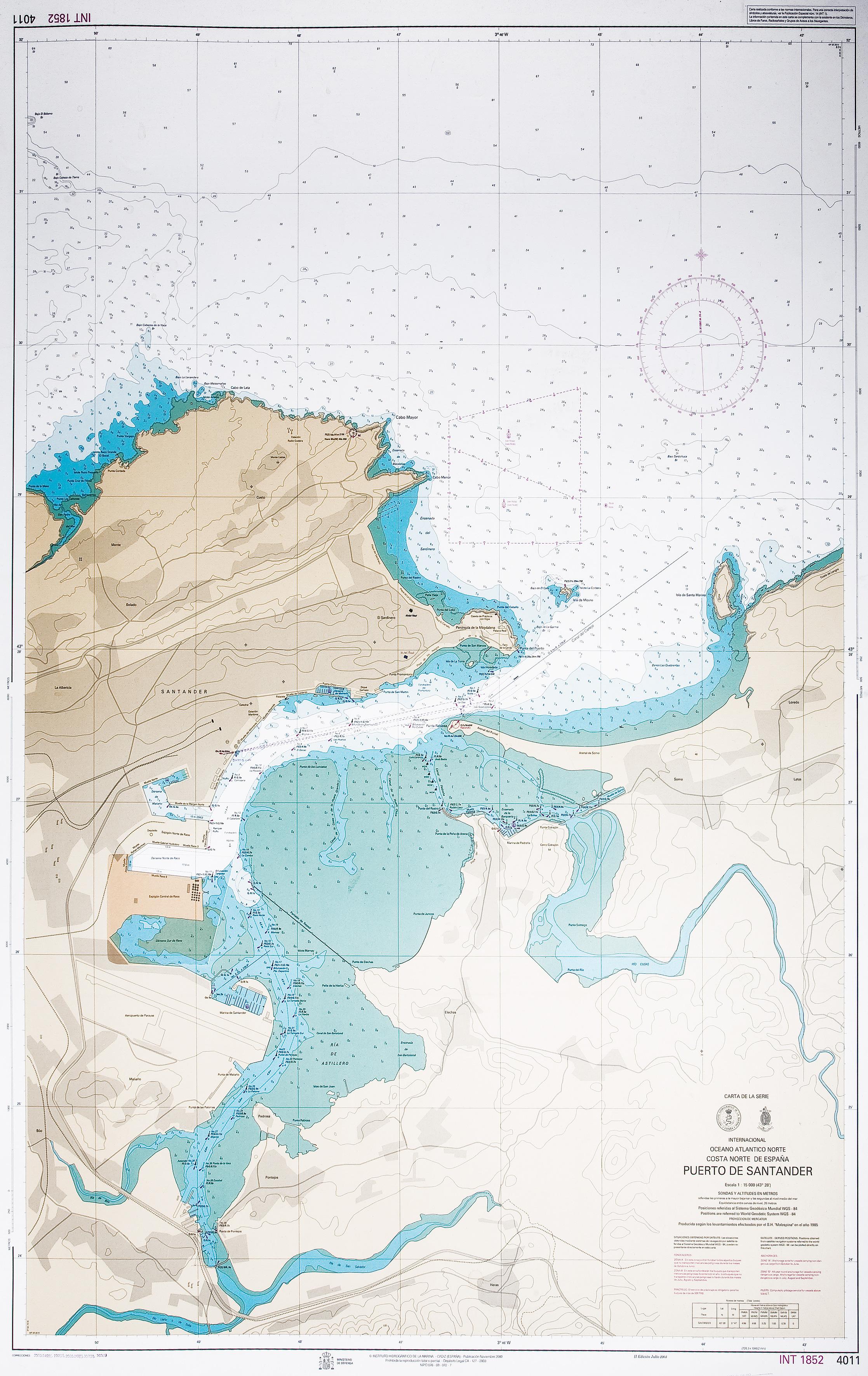 Carta náutica del Puerto de Santander 2000