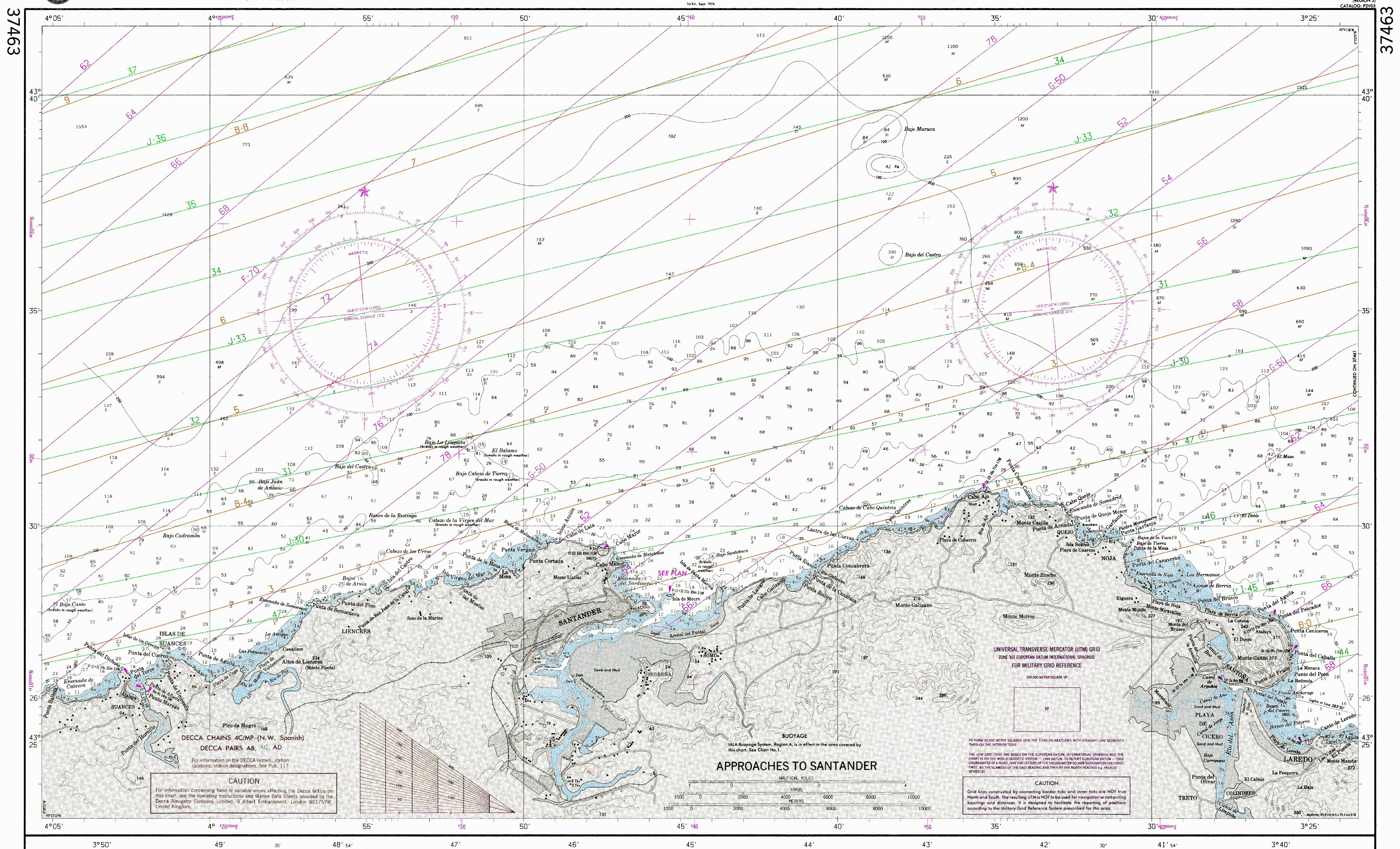 Carta náutica de los aproches de Santander