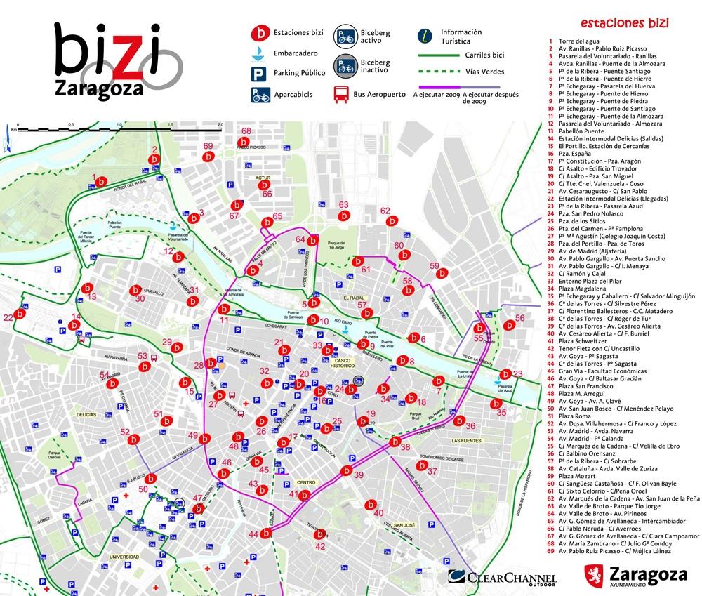 Red de vías ciclistas de Zaragoza