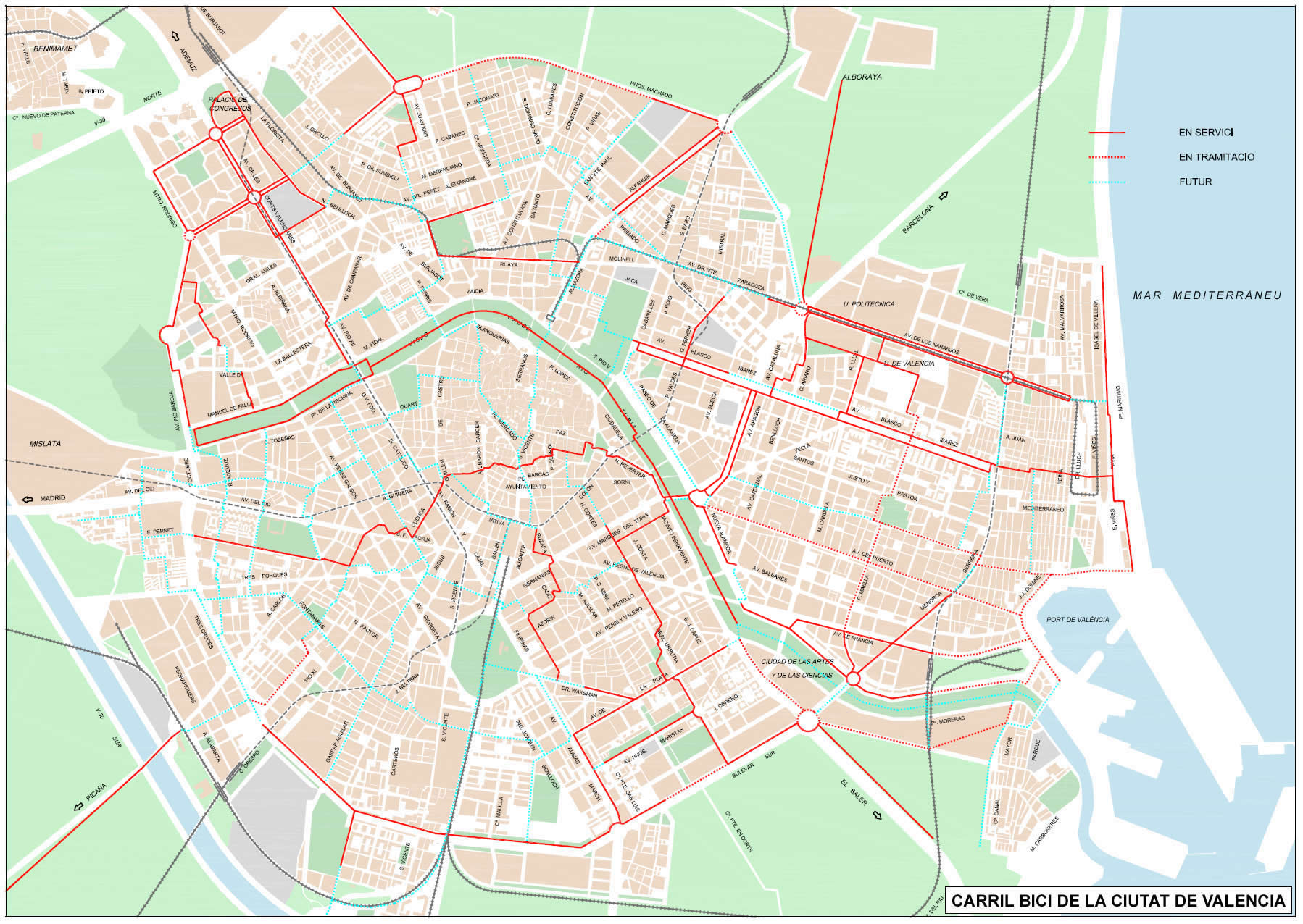 Bike routes and paths in Valencia