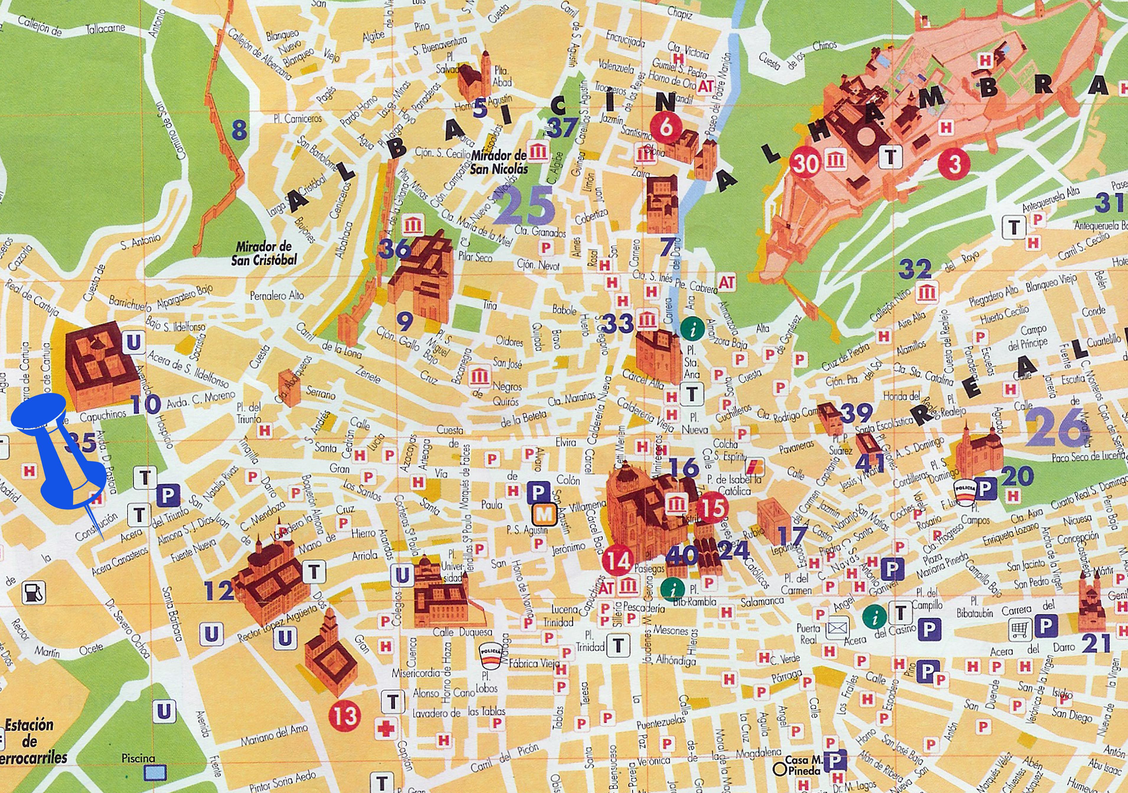 Mapa turístico de Granada