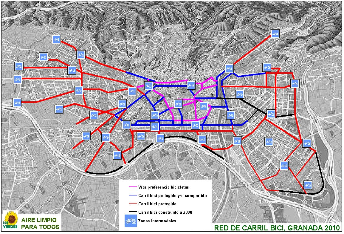 Bike routes and paths in Granada 2010
