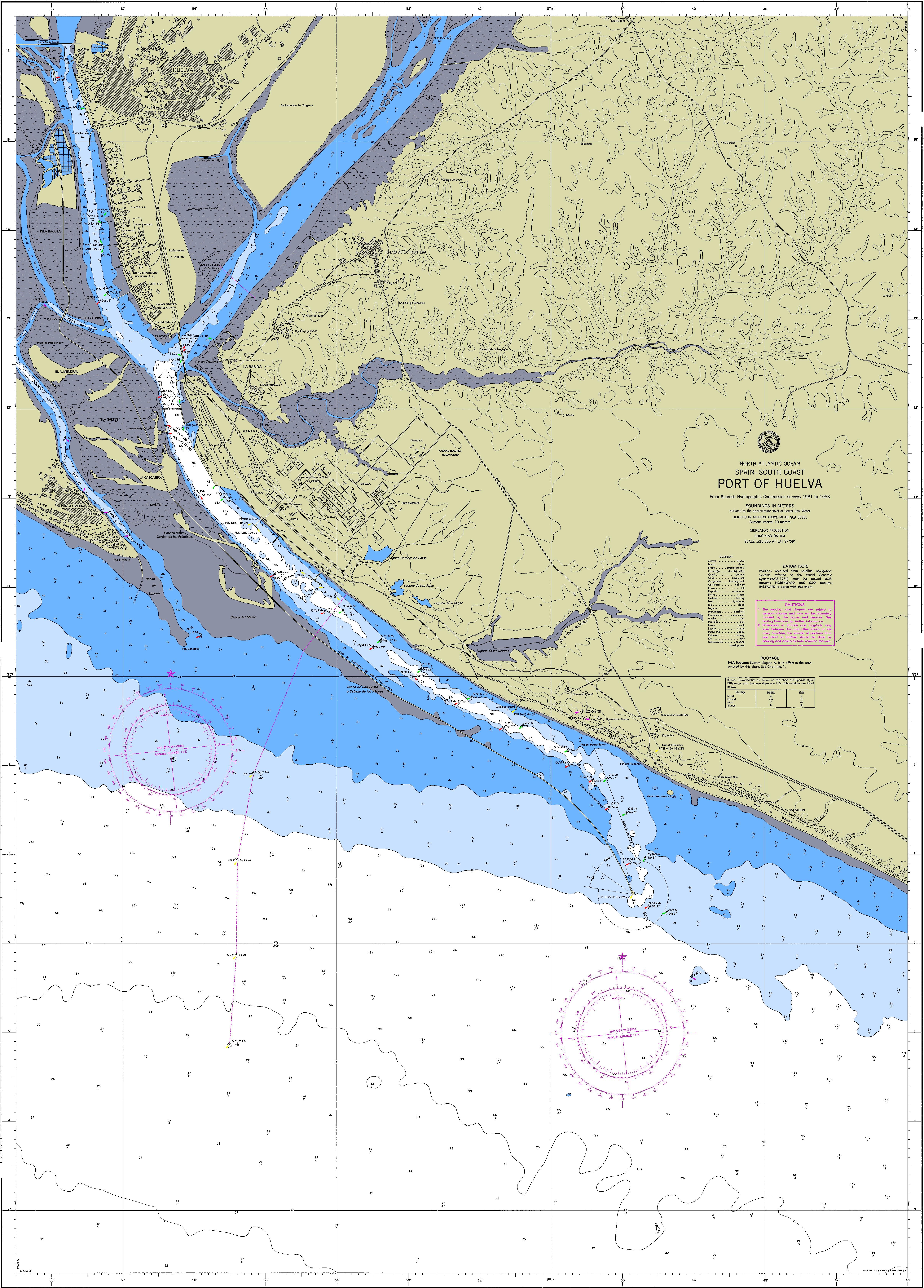 Carta náutica del puerto de Huelva