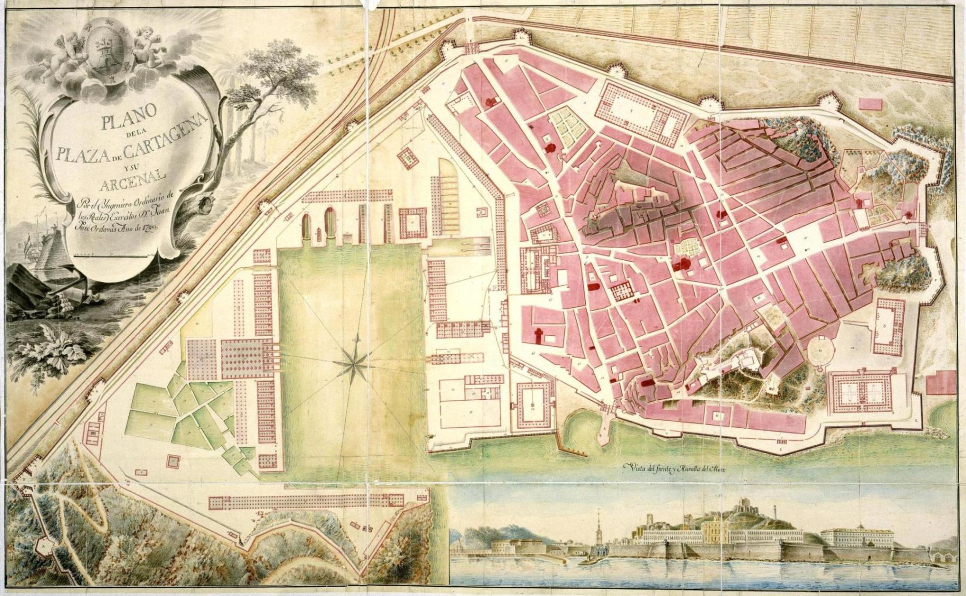 Plano de la Plaza de Cartagena y su Arcenal 1799