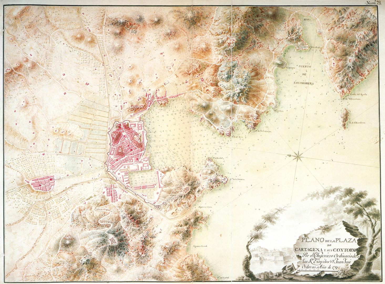 Plano de la Plaza de Cartagena y sus contornos 1799