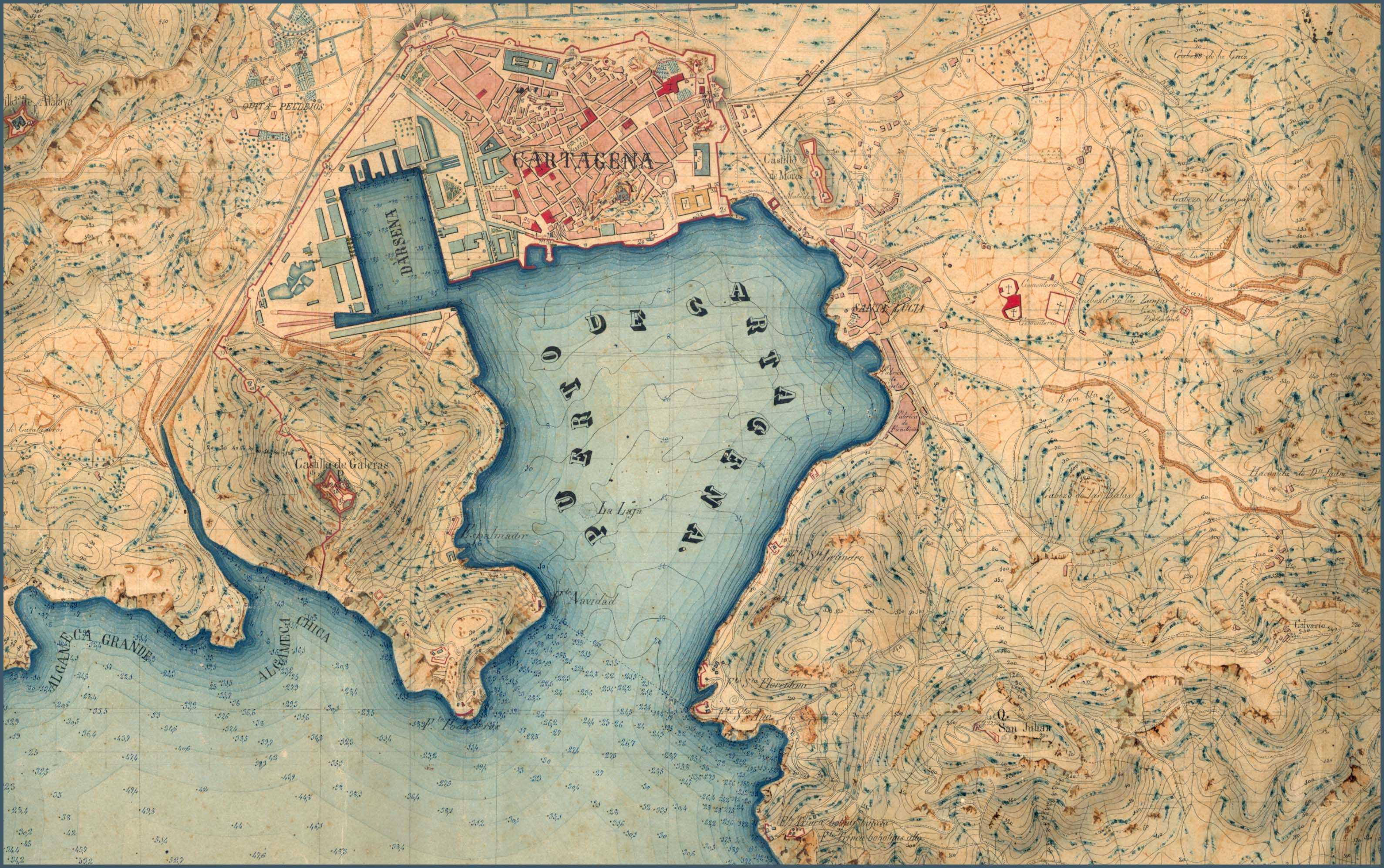 Plano de la Ciudad de Cartagena y arsenal 1860