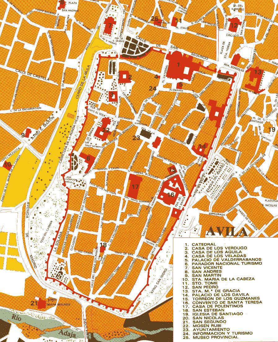 Ávila tourist map