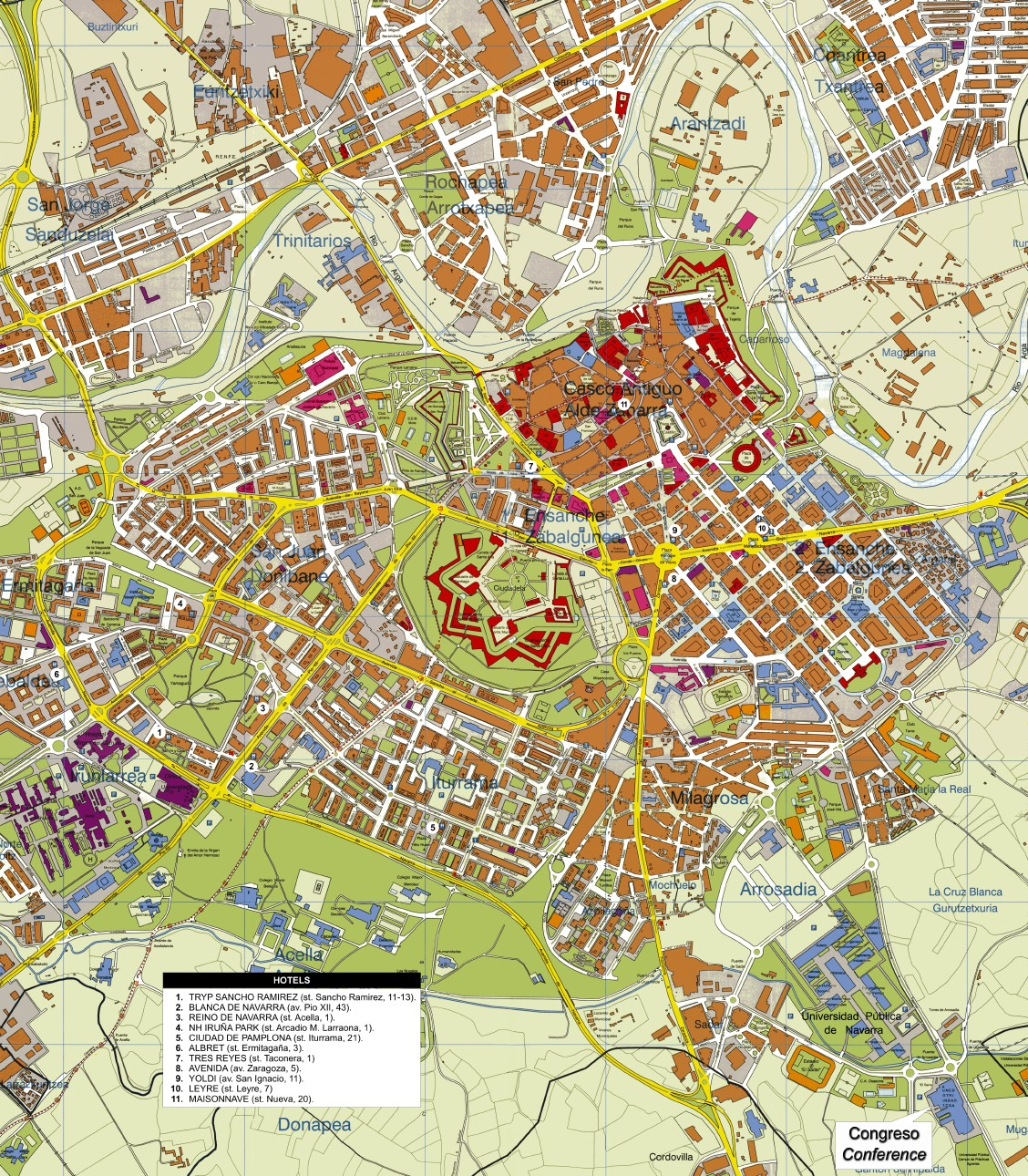 Localización de hoteles en Pamplona