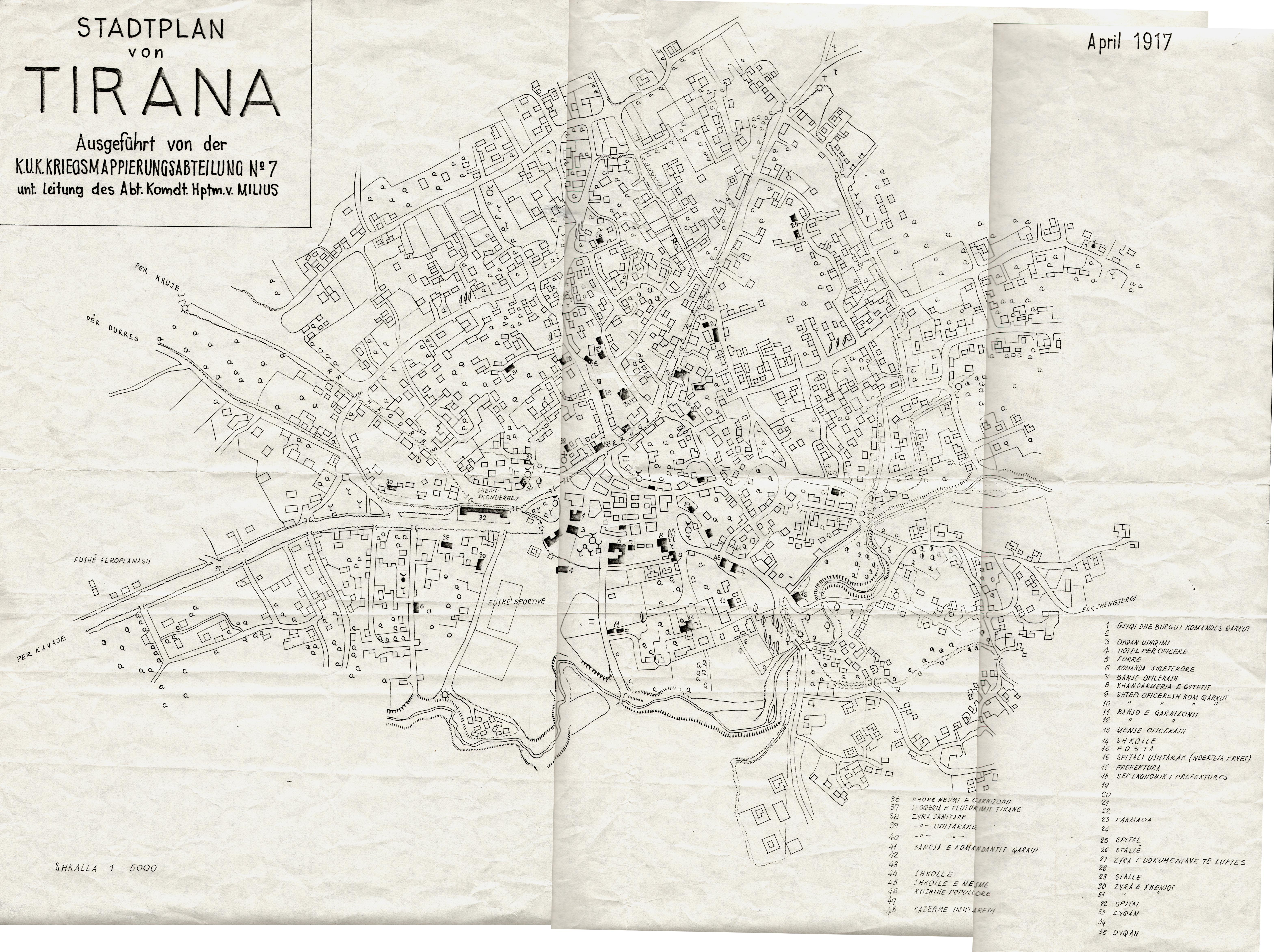 Mapa de Tirana 1917