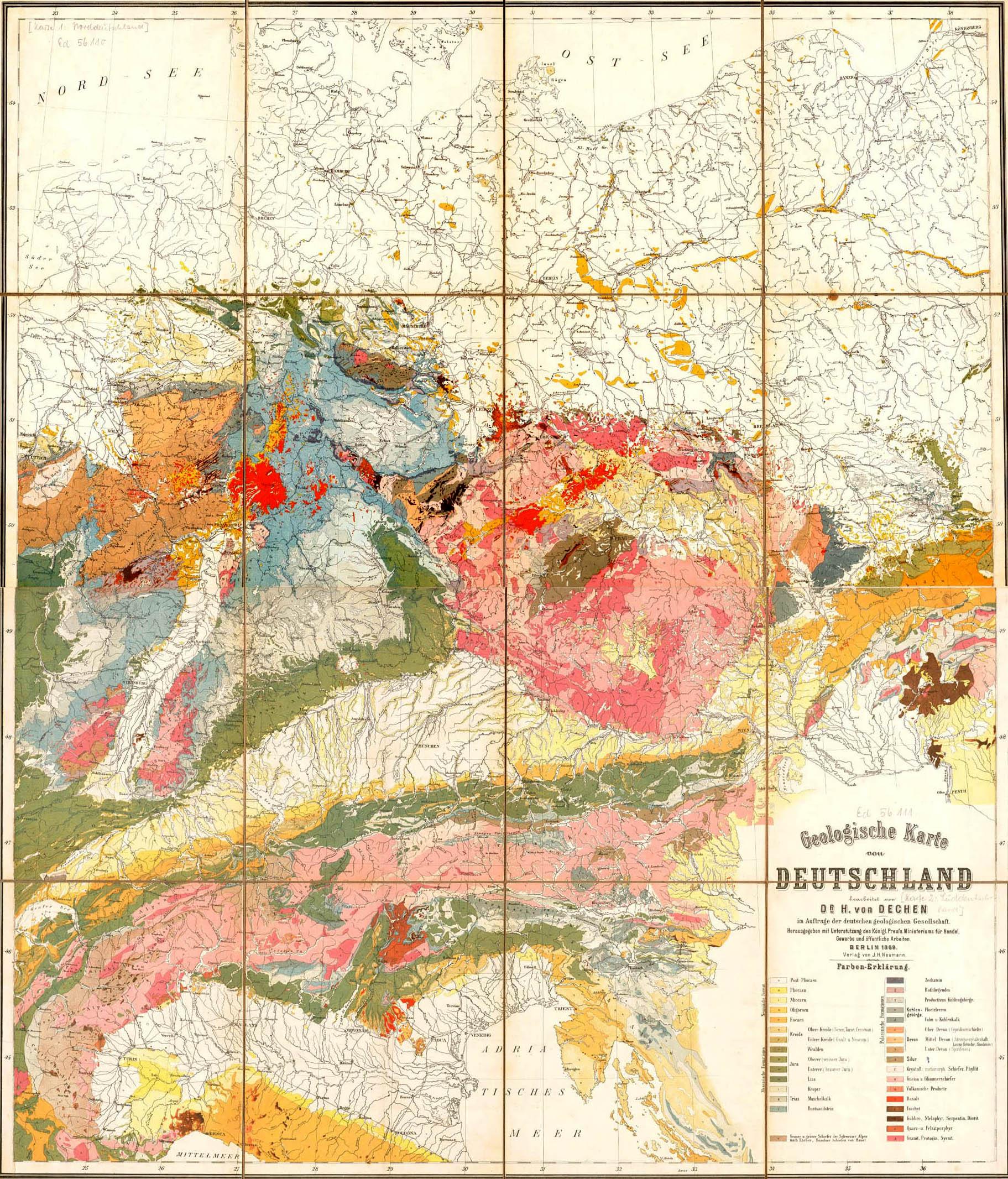 Mapa geológico de Alemania 1869