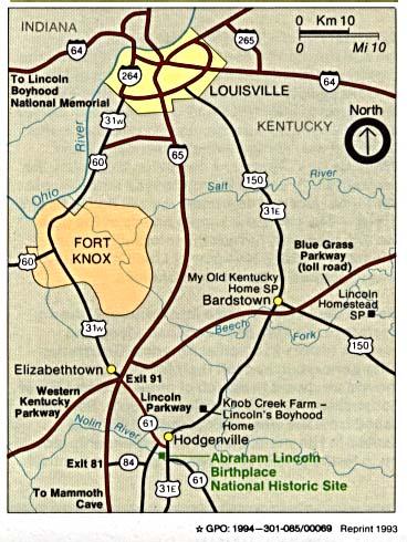 Abraham Lincoln Birthplace Mapa de la Región del Sitio Histórico Nacional, Kentucky, Estados Unidos