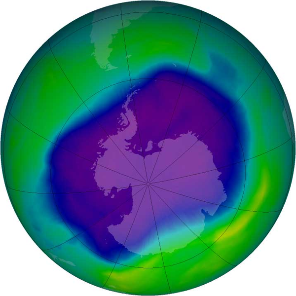 Ozone hole over Antarctica september 21-30, 2006