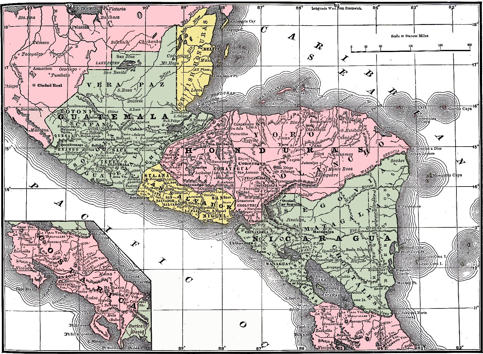América Central en 1892