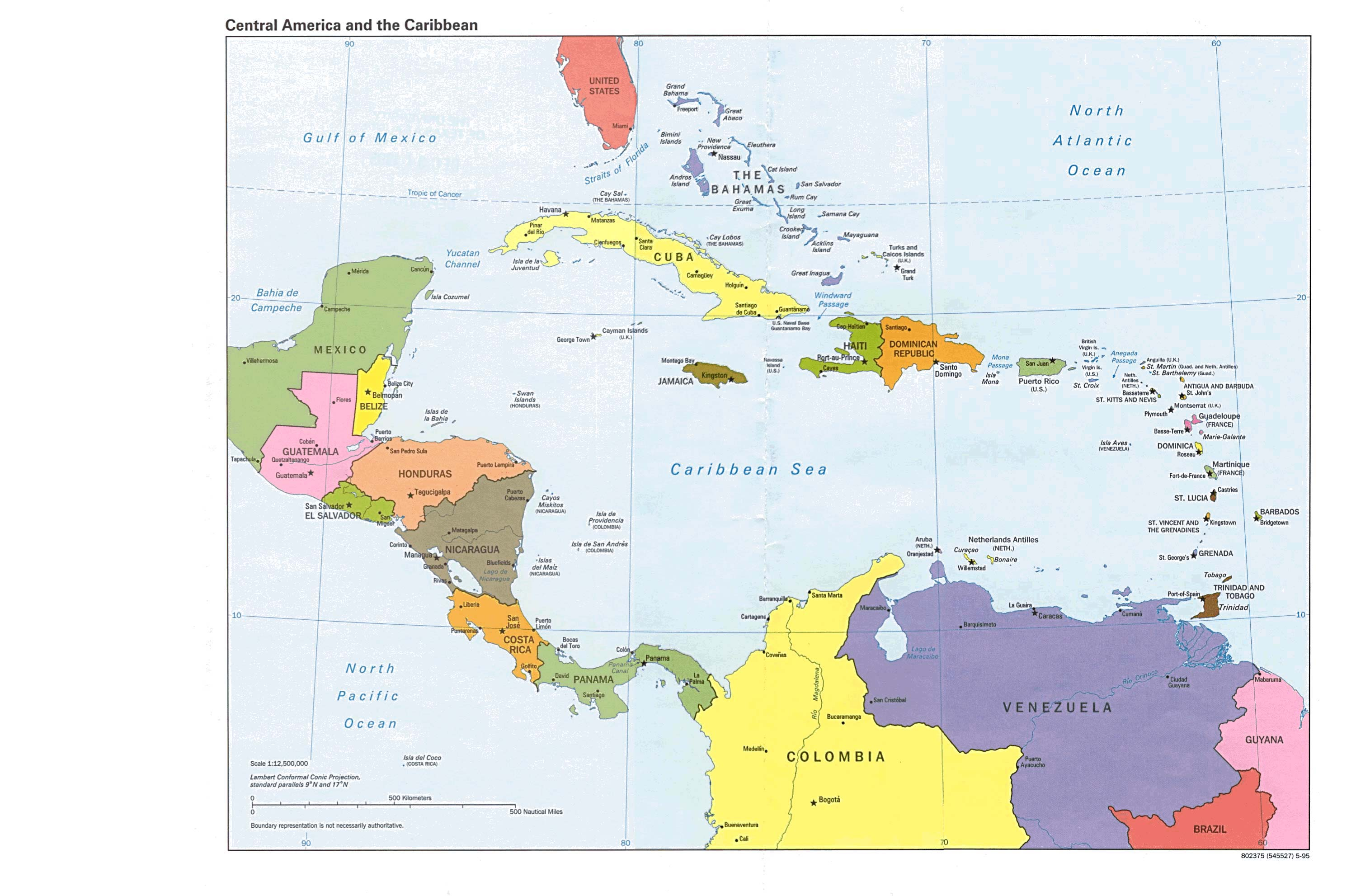Maps of Central America and the Caribbean Political Map 1995 ...